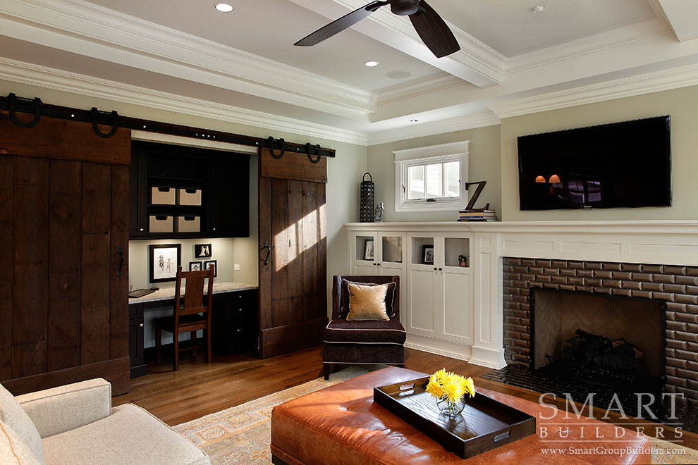 Family Room with Computer Nook - SMART Builders – Fine Homes | Renovations | SMART Group Custom Home Builders | New Construction Home Builders, Professional Remodeling