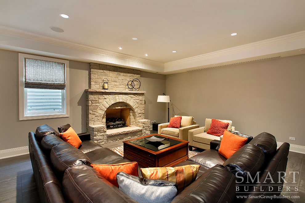 Lower Level Family Room - SMART Builders – Fine Homes | Renovations | SMART Group Custom Home Builders | New Construction Home Builders, Professional Remodeling
