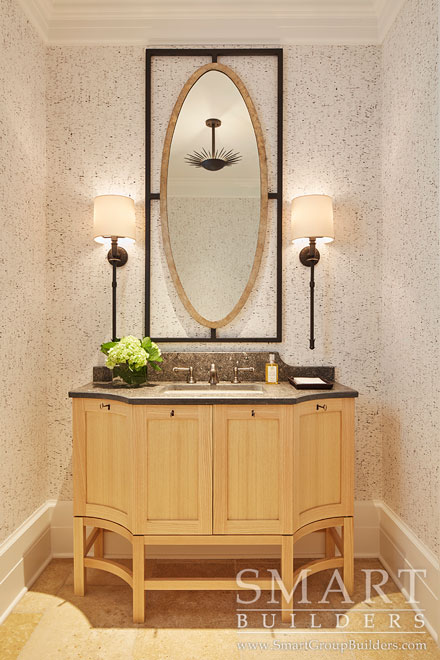 Custom Vanity in Formal Powder Room  - SMART Builders – Fine Homes | Renovations | SMART Group Custom Home Builders | New Construction Home Builders, Professional Remodeling